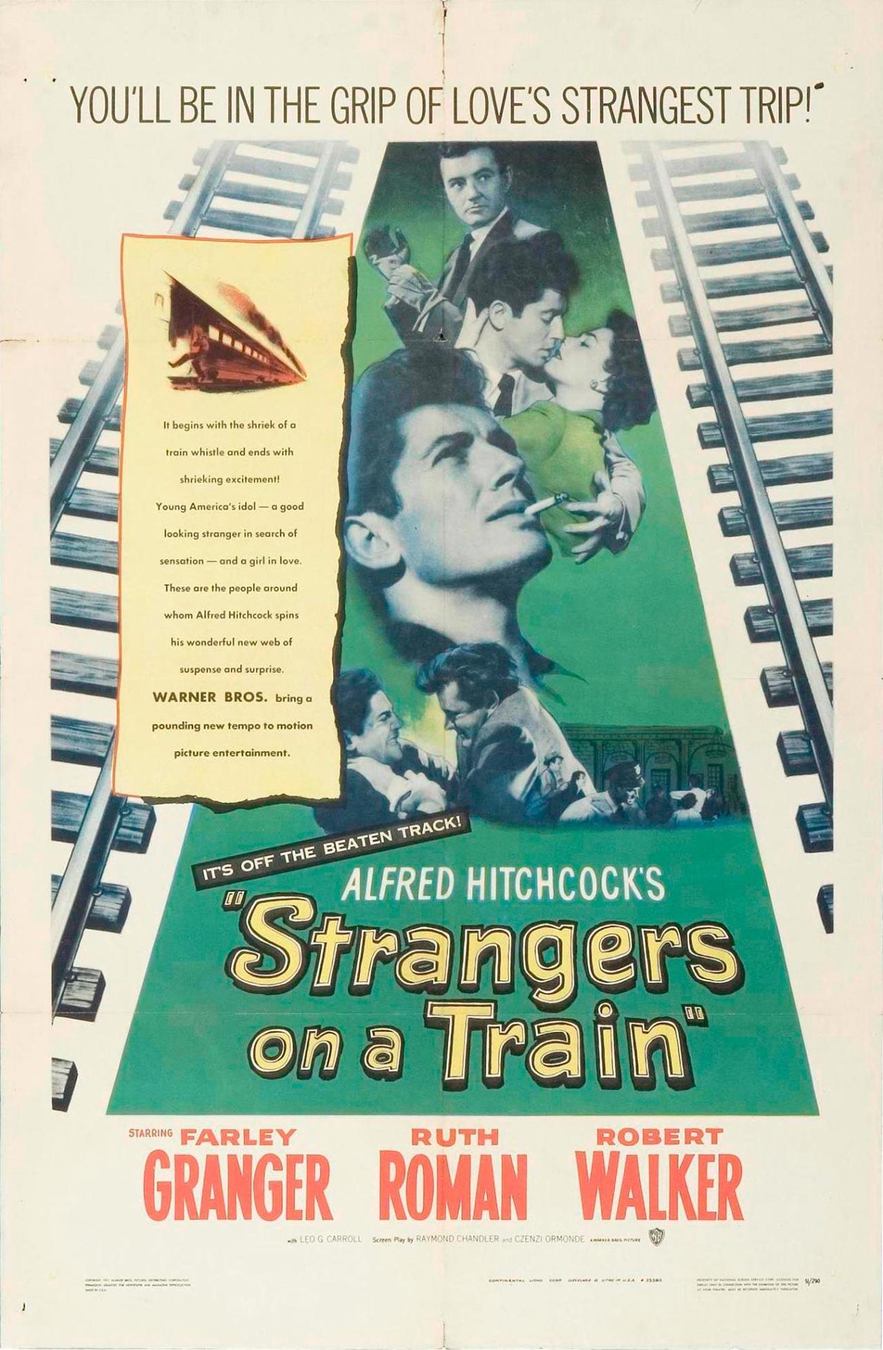 Cartel promocional de Extraños en un tren (Strangers on a train)